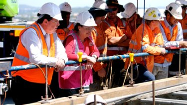 Deputy Premier Paul Lucas and Premier Anna Bligh survey the work on the new Gateway Bridge.