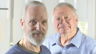 Keir Dullea and Gary Lockwood in Melbourne on Thursday.