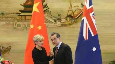 Australian Foreign Minister Julie Bishop meets Chinese Foreign Minister Wang Yi in Beijing in February.