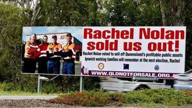 "The ""Rachel Nolan sold us out"" billboard run by the ETU."
