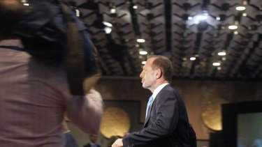 Hope ... Tony Abbott at the party meeting in Melbourne yesterday.