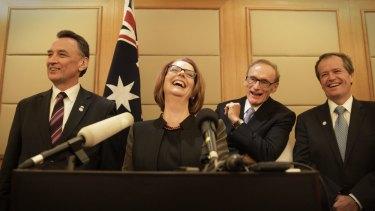 Then prime minister Julia Gillard with ministers Craig Emerson Senator Bob Carr and Bill Shorten in 2013. Photo: Andrew Meares