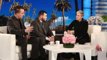 "Stephen Schuck, left, and Jesus Campos appear with host Ellen Degeneres during a taping of ""The Ellen DeGeneres Show"""