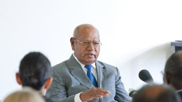 John Momis, president of the autonomous government of Bougainville, during a speech in Canberra.