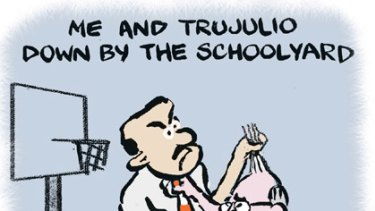 Age cartoonist Andrew Dyson's take on the 2005 stoush between John Howard and Sol Trujillo - the PM never could pronounce his name.