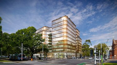 An architect's impression of a new 11-storey office to be built at 200-222 Victoria Parade, East Melbourne.