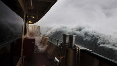 The Manly ferry took a battering this morning.