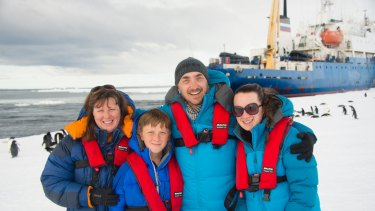 Chris Turney with Annette, Robert and Cara in Antarctica.