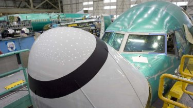 Boeing 737 airplanes under construction at the company's manufacturing facility in Renton, Washington.