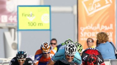 Bunch sprint ... Belgian Tom Boonen of team Omega Pharma-Quick Step wins the first stage of Tour of Qatar.