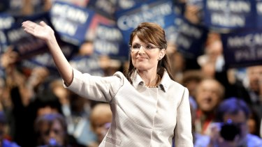 'Vicious lie' ... Sarah Palin waves to the crowd following her speech at the Republican National Convention.
