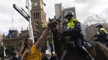 A man punches a Police Horse during an anti-lockdown rally in the CBD in Sydney 24 July, 2021. Photo: Brook Mitchell