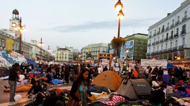 Xnet got a boost from Spain's indignados (the indignant) movement, which arose in the aftermath of the financial crisis to protest austerity cuts and political priorities. Demonstrators camp out in Madrid's Puerta del Sol in May 2011.