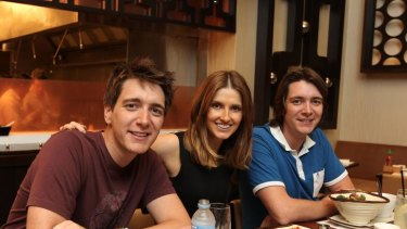 Double trouble ...  natural brunettes and Harry Potter stars Oliver (left) and James Phelps with Kate Waterhouse.