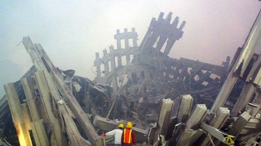 Haunting memories ... rescue workers are dwarfed by the scale of the destruction as they survey the aftermath of the September 11 attacks on the World Trade Centre.
