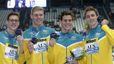 You got the silver: the Australian men's 4x100m medley relay team from left, Mitchell Larkin, Jake Packard, Jayden Hadler and Cameron McEvoy.