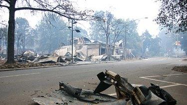 A fire-ravaged street in Marysville, as seen on Sunday, February 8.