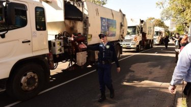 Garbage trucks drove from Blacktown to SBS headquarters in Artarmon to protest the program.