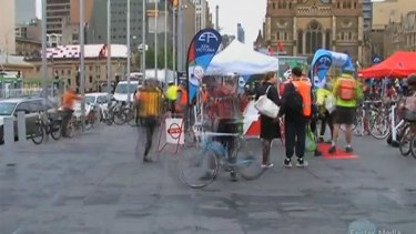 Riders gather at Federation Square for Ride to Work Day.