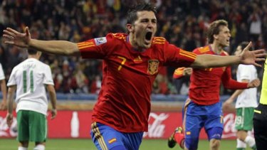 Goal hero ... Spain's David Villa.