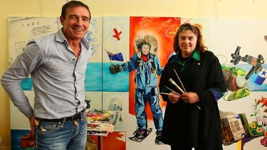 Painter Sharon Davson in her studio with former Liberal MP Pat Farmer.