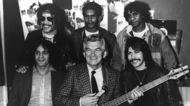 Prime Minister Bob Hawke launches From My Eyes by No Fixed Address in1982.