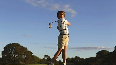 Coming out swinging: Nine-year-old golf champion Karl Vilips.