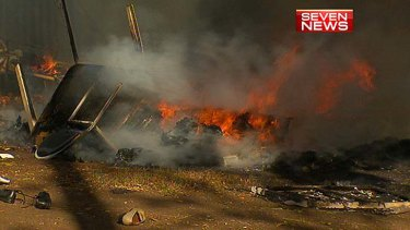 Fire destroys tents at the Musgrave Park Aboriginal Tent Embassy.