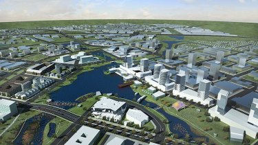 'Capital of the west' ... The proposed East Werribee project includes plans for 20,000 residents, 50,000 jobs - but no new train station.