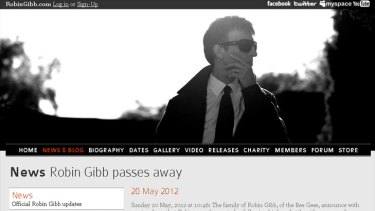 'Difficult time' ... the family of Robin Gibb announces his passing.