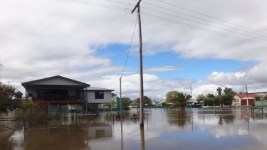 Flooding in Forbes on Sunday.
