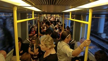 Chockers: a city-bound light rail at 8.30am on Wednesday morning.