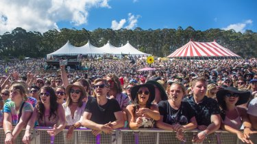 Crowds enjoy the Falls Festival on New Year's Eve.