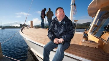 Celebrity cheff Tetsuya Wakada launches his new boat.