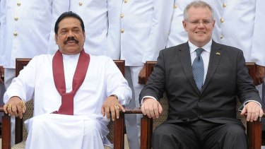Sri Lankan President Mahinda Rajapakse with Immigration Minister Scott Morrison in Colombo at a ceremony commissioning two Australian-gifted naval patrol boats that will be deployed for preventing people smuggling operations.