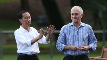 Indonesian President Joko Widodo with Prime Minister Malcolm Turnbull in Sydney on Sunday.