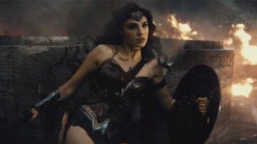 Amazonian warrior: Gal Gadot as Wonder Woman in a battle scene from the new <i>Batman v Superman</i> trailer.