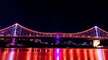 The Story Bridge's new lights on show.