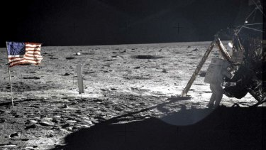 Armstrong on the surface of the moon in 1969.