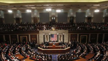Joint session ... U.S. President Barack Obama addresses Congress on Capitol Hill.