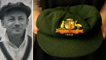 Image result for Donning the Baggy Green for don bradman