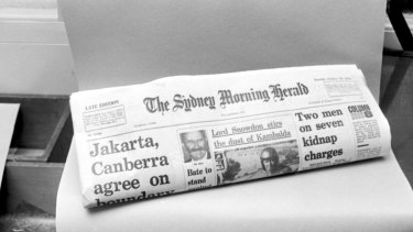 A copy of the Sydney Morning Herald on 10 October 1972. Photo: Robert Pearce