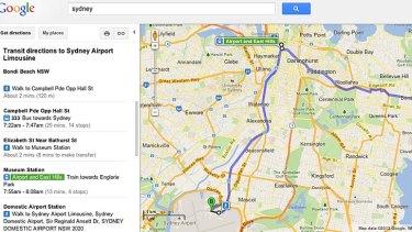 Google bondi to airport.