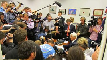 Bob Katter addresses an impromptu press conference in his office at Parliament House in Canberra today.