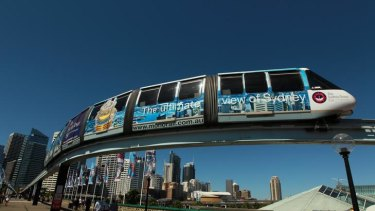 The monorail going over Pyrmont Bridge, Darling Harbour, Sydney.