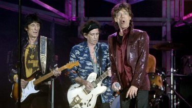 Ronnie Wood, left, Keith Richards, second from left,  and Mick Jagger of The Rolling Stones performing in Sydney in 2006.
