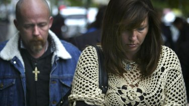 Justine Kelly and her partner Billy Kelly at the Coroner's Court in Glebe during the 2010 inquest into the death of her son Alex Wildman, who was bullied at school and subsequently killed himself.