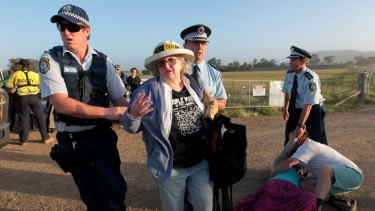 Anti-CSG protesters in Gloucester last October.