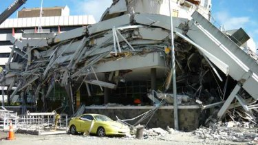 The ruins of the Pyne Gould Corporation building in Christchurch CBD, where 18 people died.