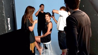 Behind the scenes on a Miranda Kerr shoot.